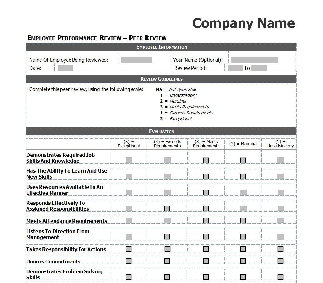 Employee Evaluation Template Excel Employee Evaluation Template Excel Images