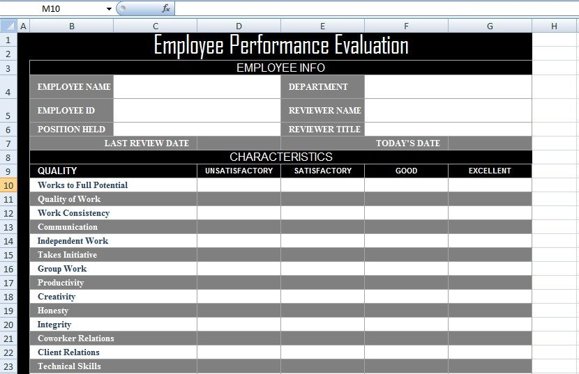 Employee Evaluation Template Excel Employee Performance Evaluation form Xls Free Excel