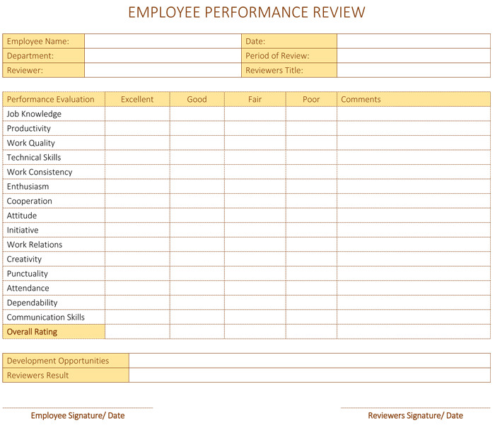 Employee Evaluation Template Excel Employee Performance Review Template for Word Dotxes