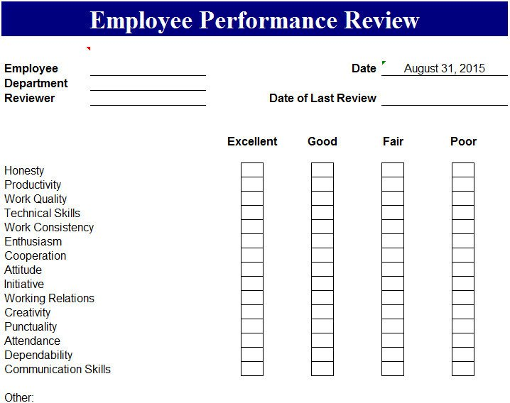 Employee Evaluation Template Excel Employee Performance Review Template My Excel Templates