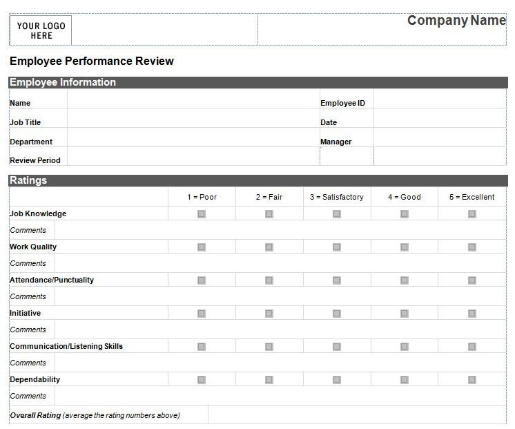 Employee Evaluation Template Excel Employee Performance Review Template