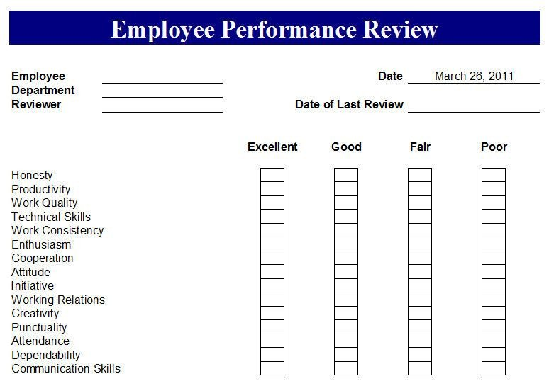 Employee Evaluation Template Excel Free Employee Evaluation forms Printable Google Search