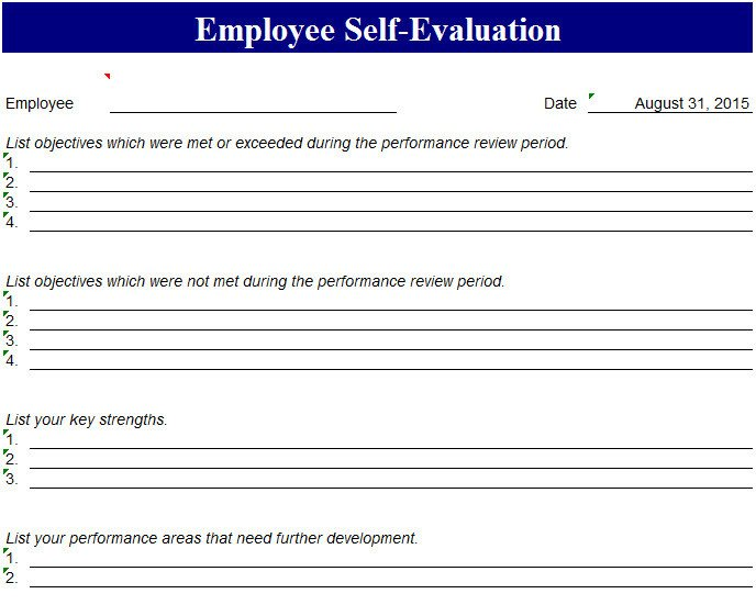 Employee Evaluation Template Excel Performance Self Evaluation Template