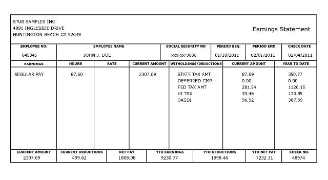 Employee Pay Stub Template 10 Pay Stub Templates Word Excel Pdf formats