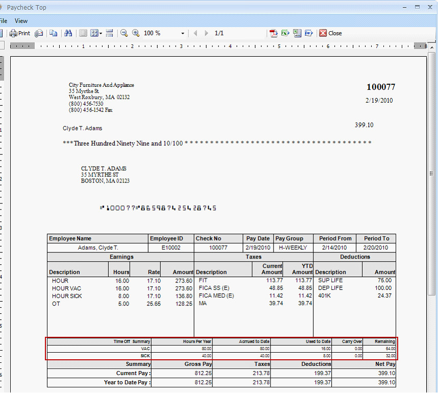 Employee Pay Stub Template Payroll Show Time F Accrual Info On Pay Stubs