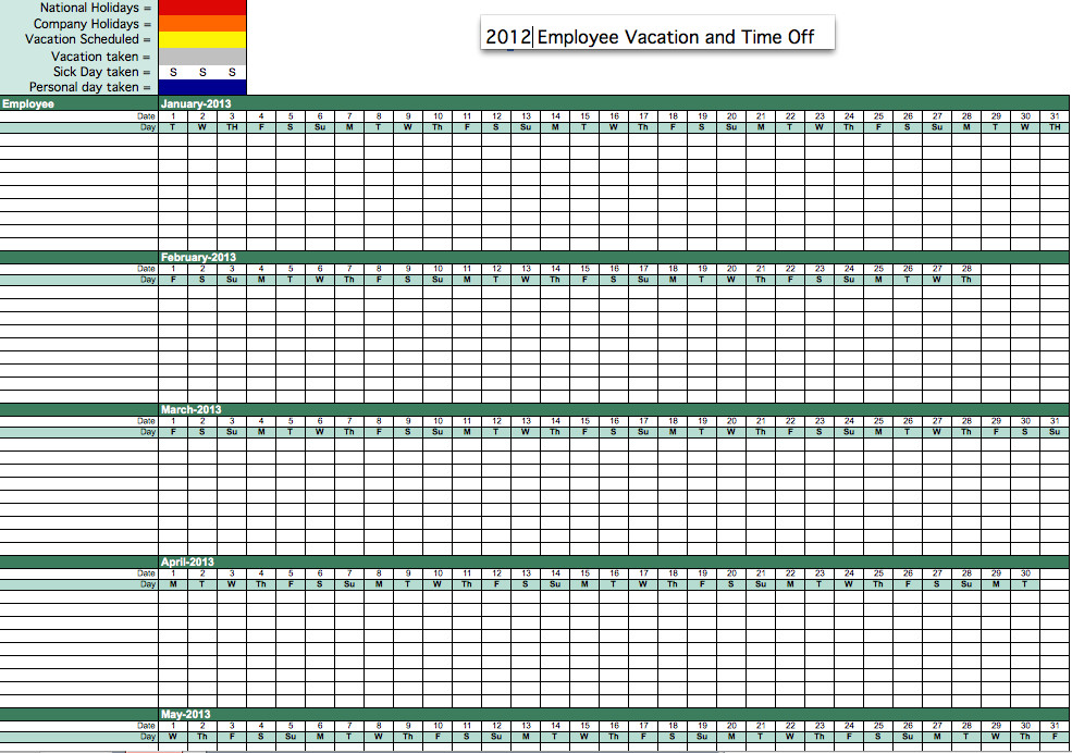 Employee Vacation Planner Template Excel 2012 Employee attendance Tracker