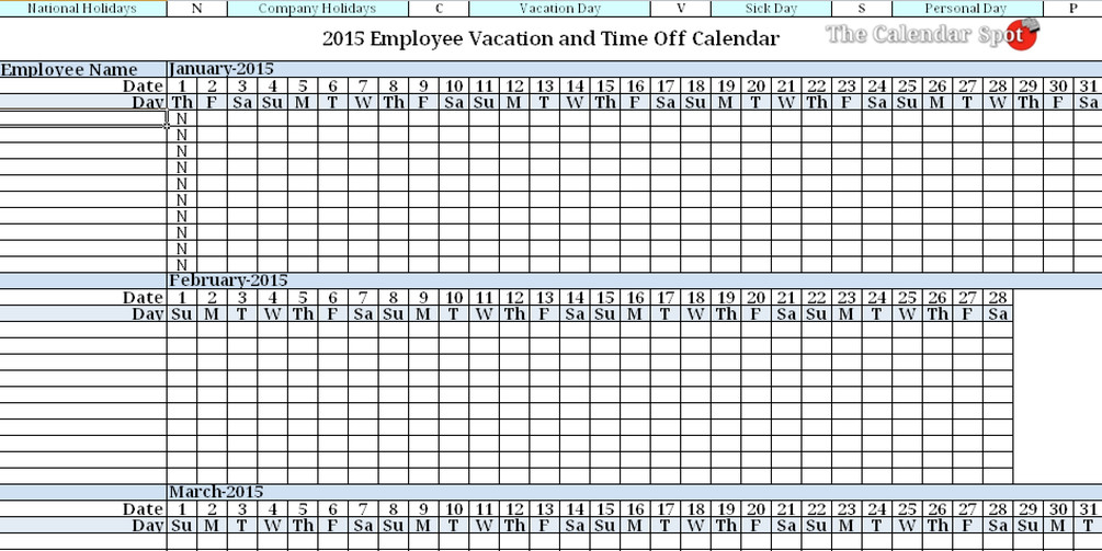 Employee Vacation Planner Template Excel 2015 Employee Vacation Absence Tracking Calendar