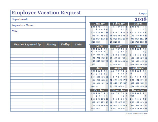 Employee Vacation Planner Template Excel 2018 Business Employee Vacation Request Free Printable
