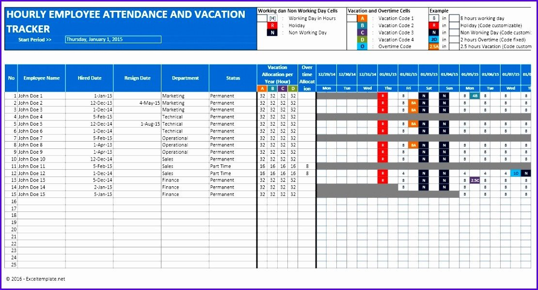 Employee Vacation Planner Template Excel 6 Excel Holiday Planner Template Exceltemplates