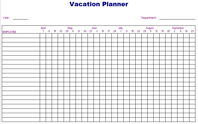 Employee Vacation Planner Template Excel Employee Vacation Planner Excel Template 2017 Microsoft
