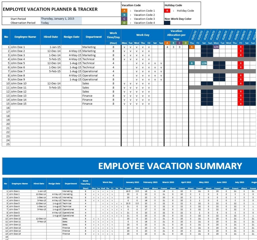 Employee Vacation Planner Template Excel Employee Vacation Planner Excel Templates