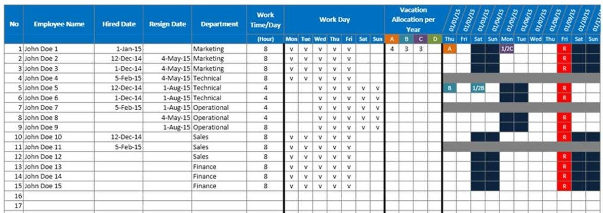 Employee Vacation Planner Template Excel Employee Vacation Planner