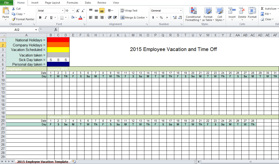 Employee Vacation Planner Template Excel Employee Vacation Tracking Excel Template 2015 Excel Tmp