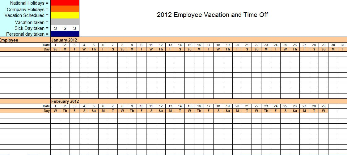 Employee Vacation Planner Template Excel Employee Vacation Tracking Excel Template