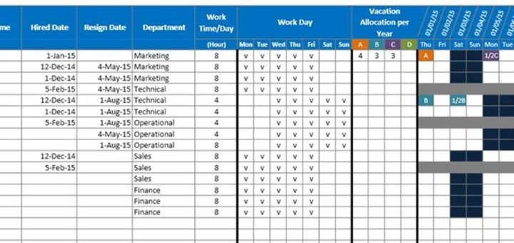 Employee Vacation Planner Template Excel Free Microsoft Excel Templates and Spreadsheets