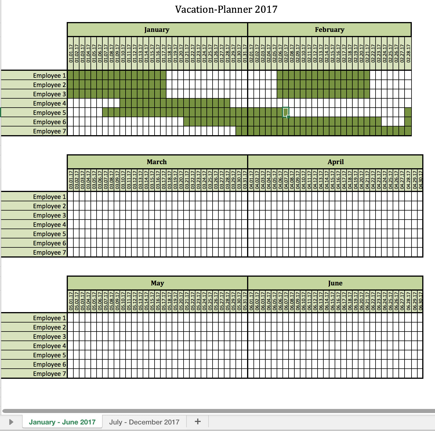 Employee Vacation Planner Template Excel Vacation Planner 2017