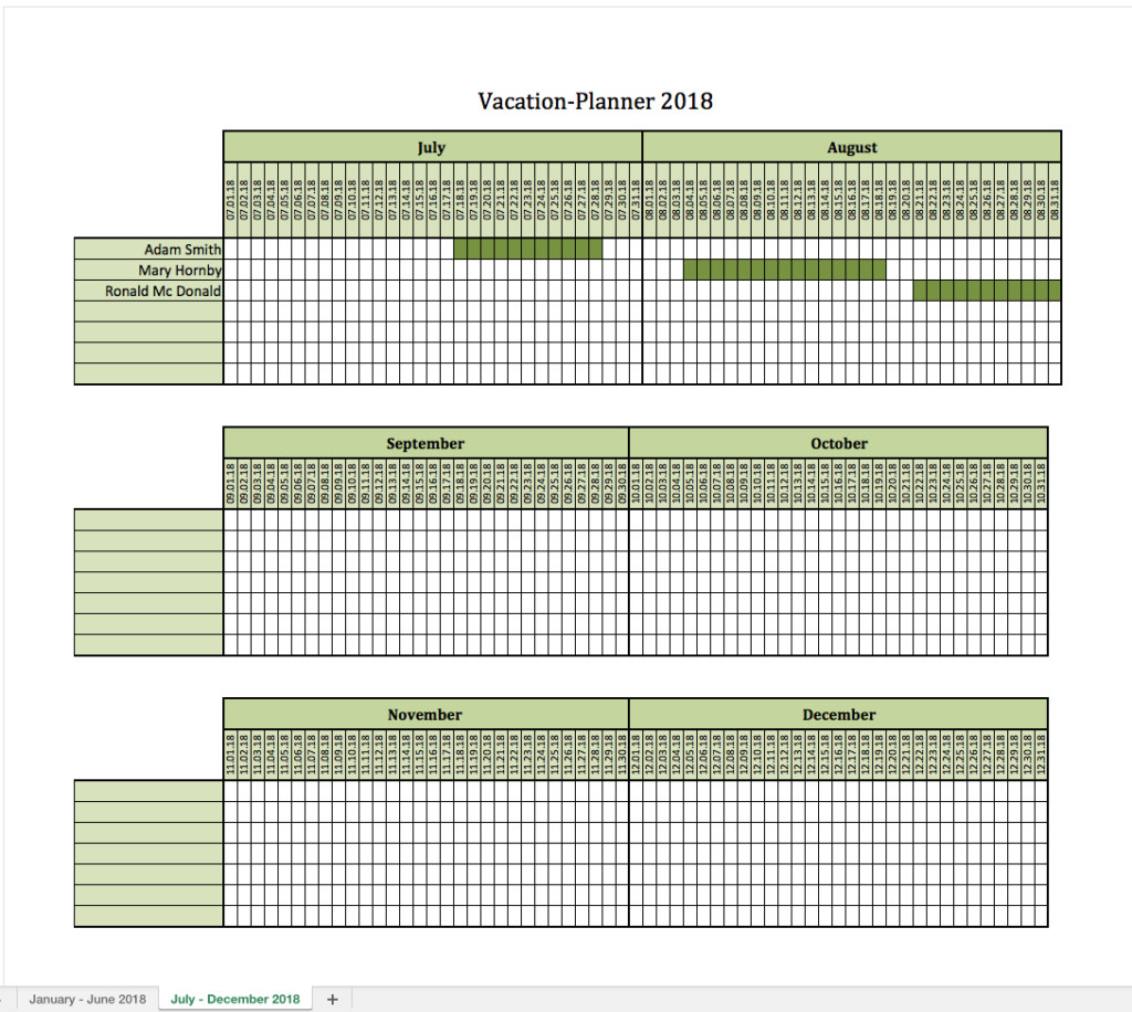 Employee Vacation Planner Template Excel Vacation Planner 2018