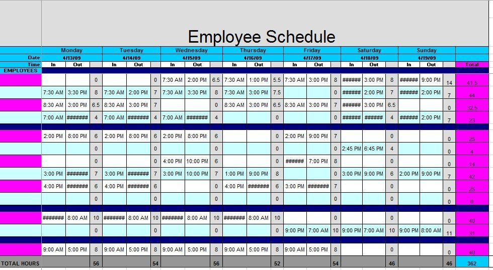 Employee Work Schedule Template 12 Free Sample Staff Schedule Templates Printable Samples