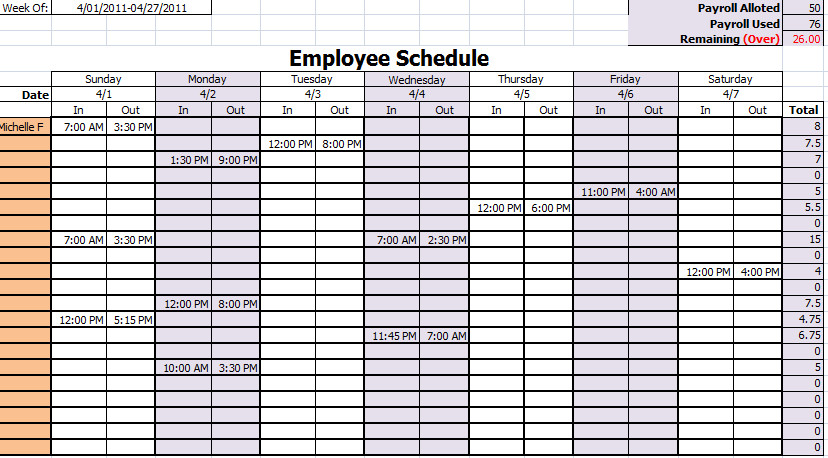 Employee Work Schedule Template 15 Free Employee Work Schedule Templates Schedule Templates