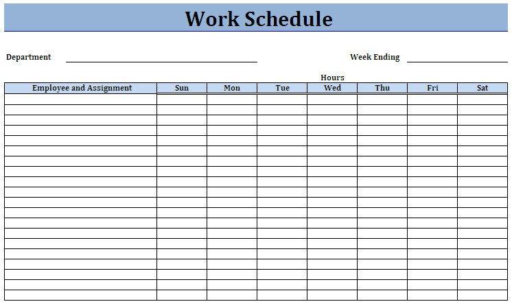 Employee Work Schedule Template 5 Work Schedule Templates Excel Xlts