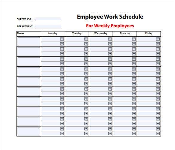 Employee Work Schedule Template 9 Weekly Work Schedule Templates Pdf Docs