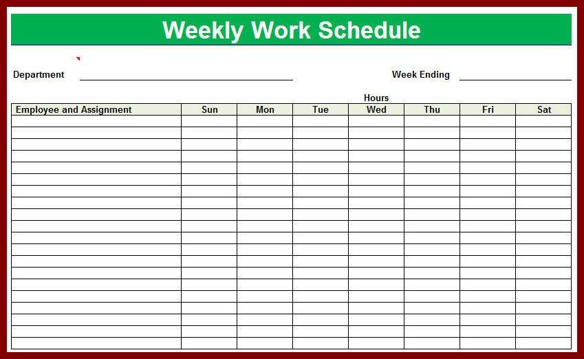 Employee Work Schedule Template Blank Employee Schedule
