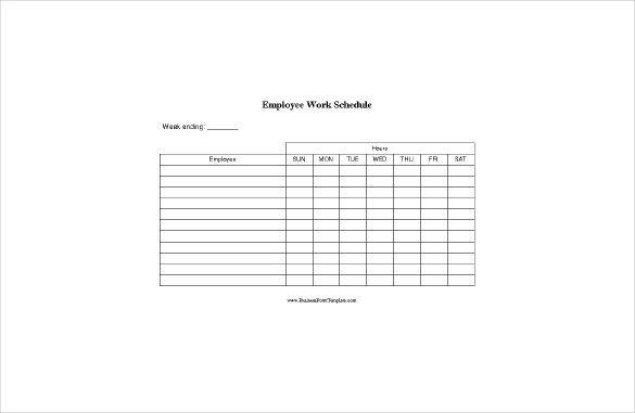 Employee Work Schedule Template Blank Schedule Template 23 Free Word Excel Pdf format
