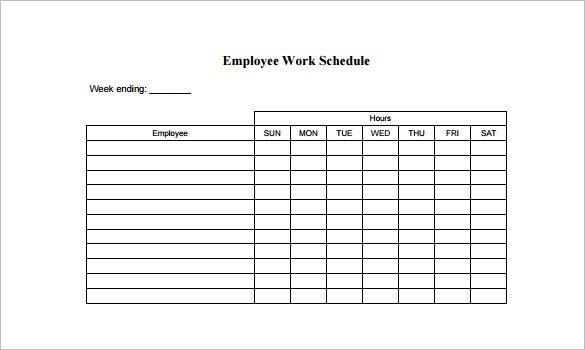 Employee Work Schedule Template Employee Schedule Template 9 Free Word Excel Pdf