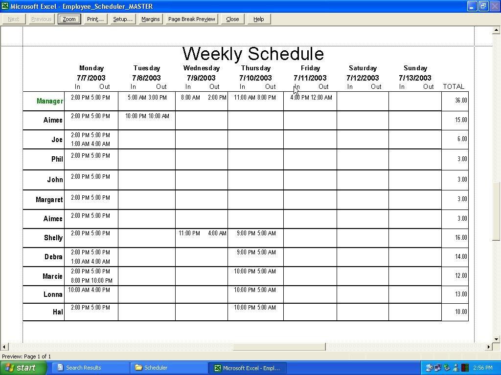 Employee Work Schedule Template Employee Schedule Template