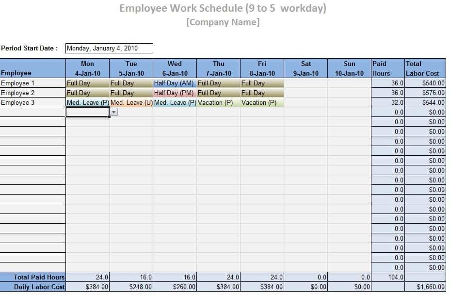 Employee Work Schedule Template Employee Work Schedule Template Word Excel