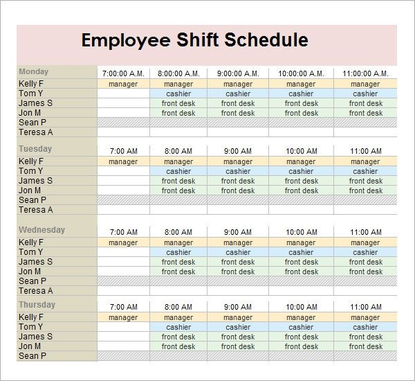 Employee Work Schedule Template Sample Employee Schedule 13 Documents In Pdf Word