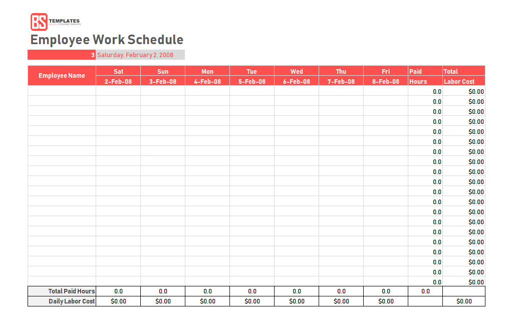 Employee Work Schedule Template Work Schedule Template Daily Weekly