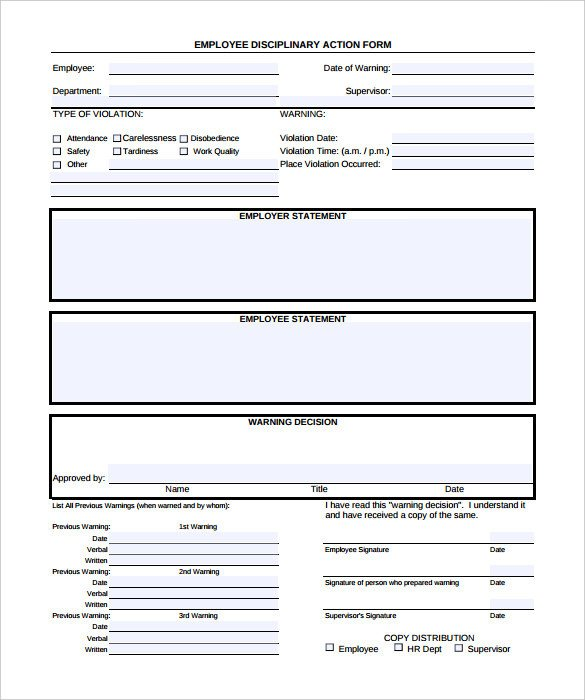 Employee Write Up Templates 6 Writing Templates Word Pdf