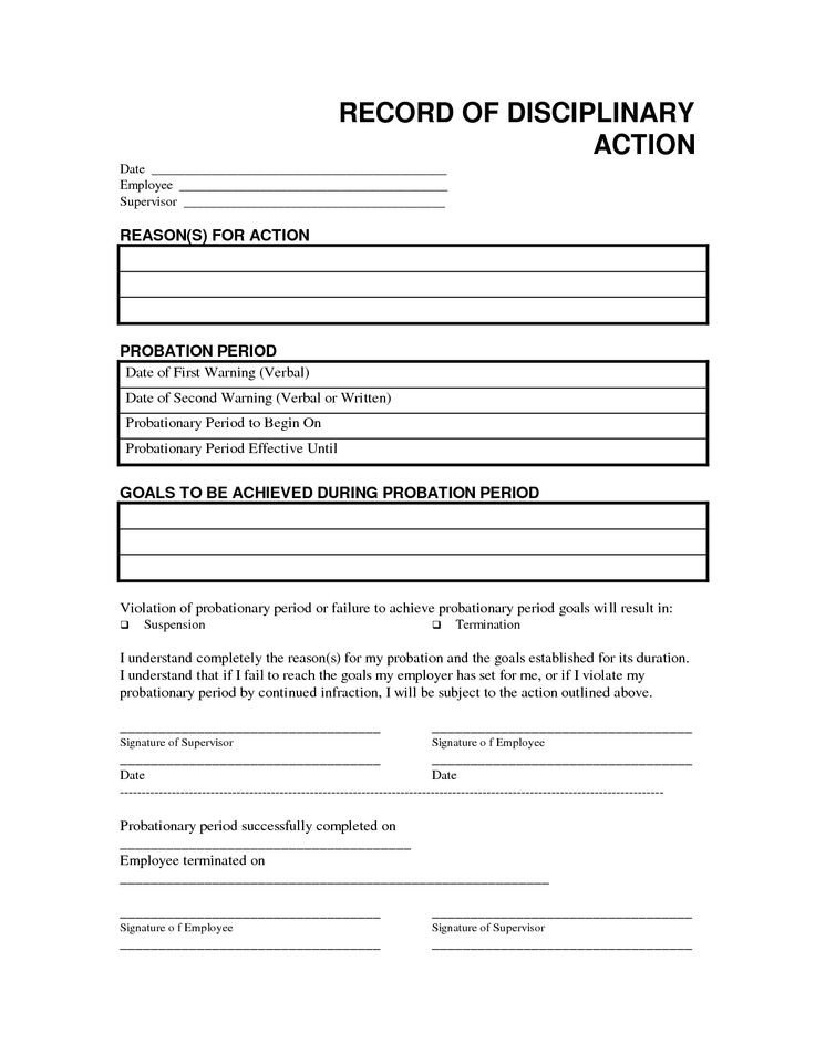 Employee Write Up Templates Record Disciplinary Action Free Office form Template by