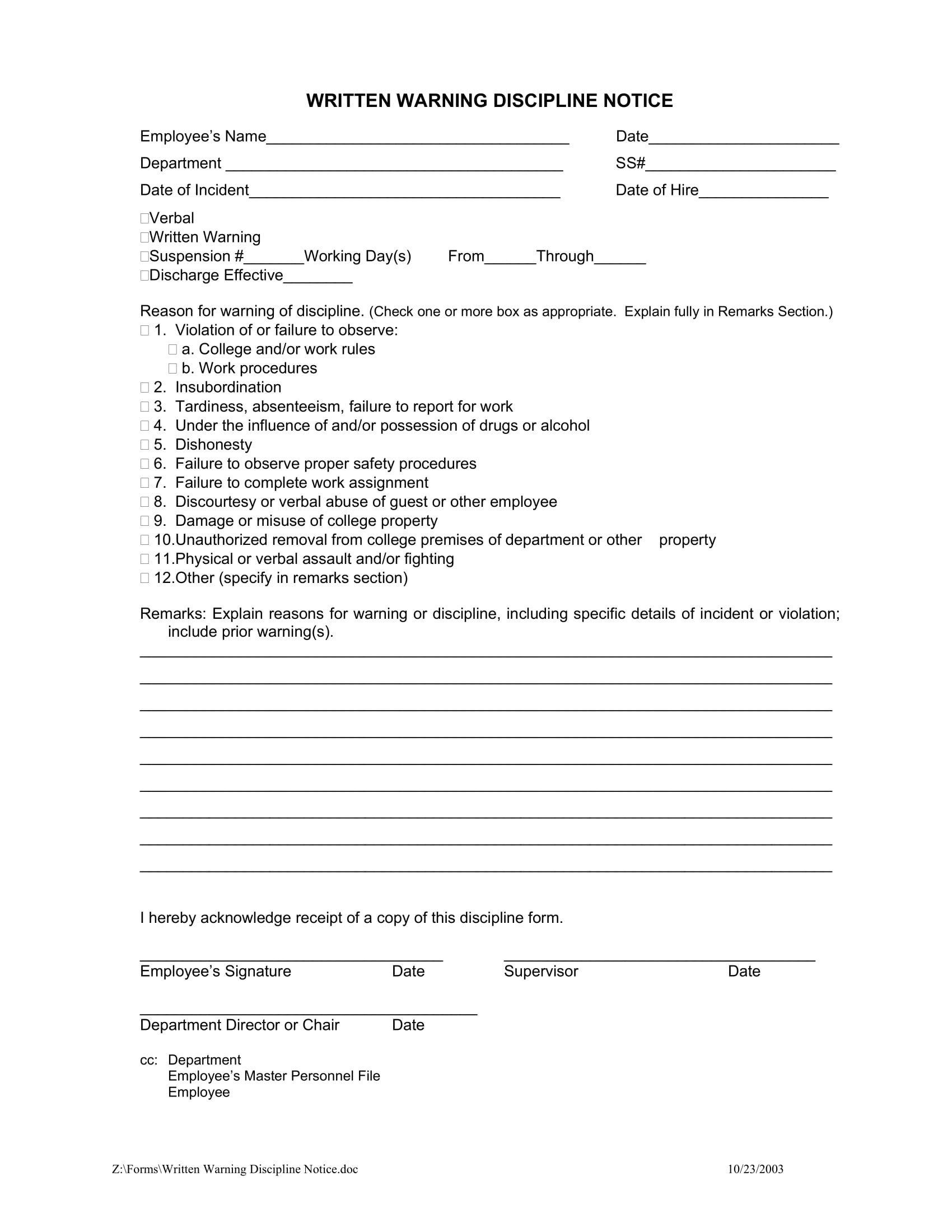 Employee Written Warning Template 11 Employee Warning Letter Examples Pdf Google Docs