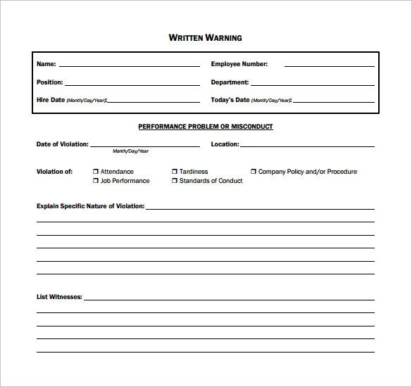 11 Written Warning Templates PDF