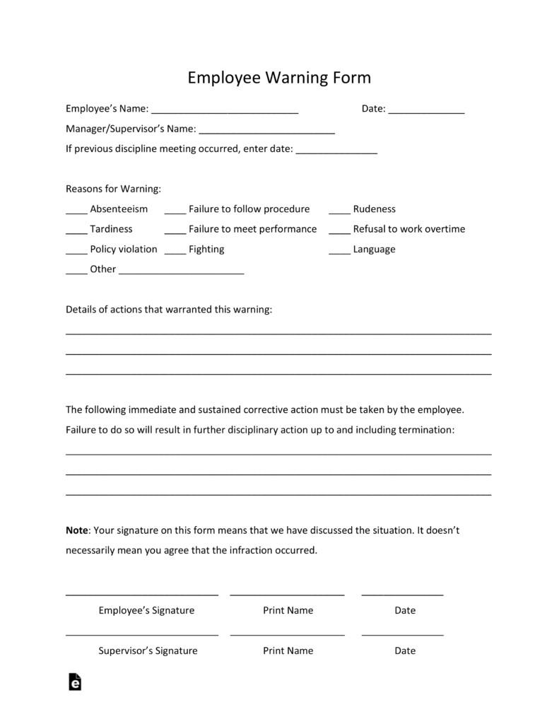 Employee Written Warning Template Free Employee Warning Notice Template Pdf