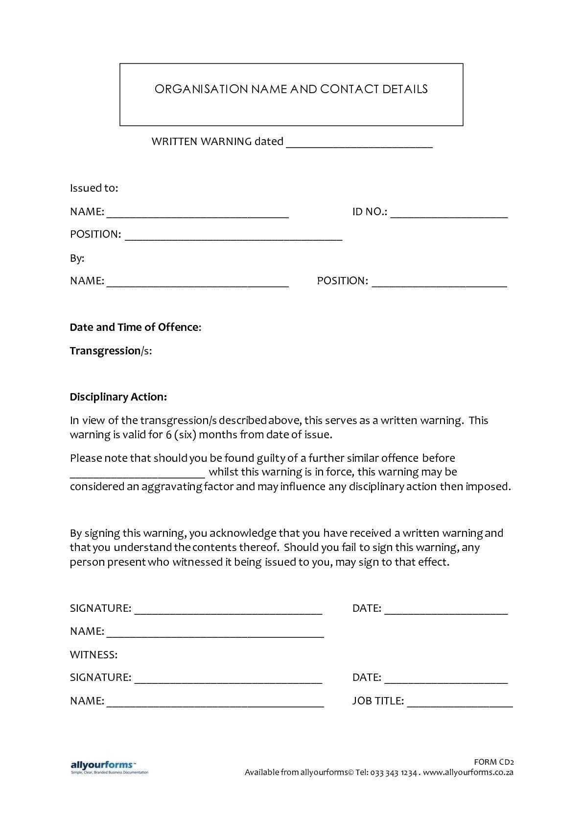Employee Written Warning Template Written Warning Template