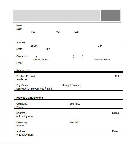 Employment Application Template Microsoft Word Application Template – 18 Free Word Excel Pdf Documents