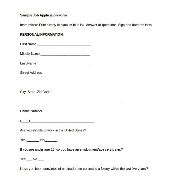 Employment Application Templates – 10 Free Word PDF