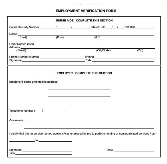 Employment Verification forms Template Employment Verification form 8 Download Documents In Pdf