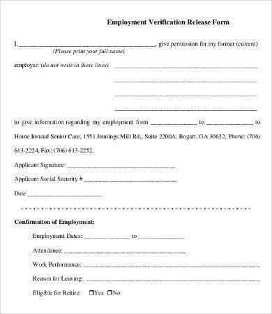 Employment Verification Form Template 5 Free PDF