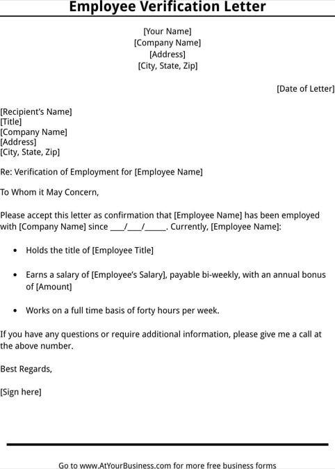 Employment Verification Letter Template Word 11 Employee Verification Letter Examples Pdf Word