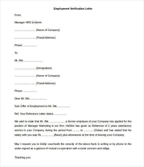 Employment Verification Letter Template Word 11 Free Employment Letter Template Doc Pdf