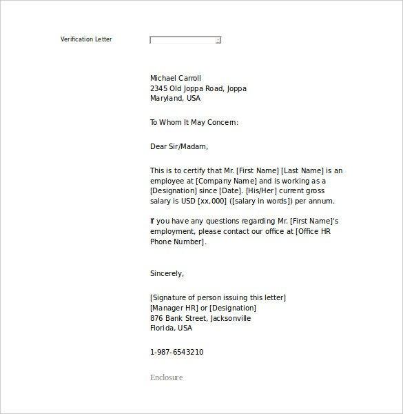 Employment Verification Letter Template Word 15 Letter Of Employment Templates Doc Pdf
