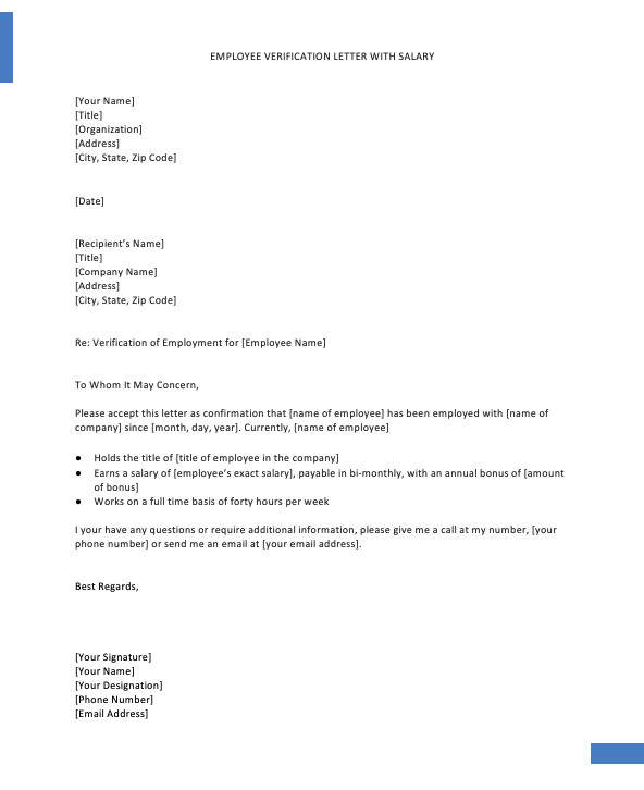 Employment Verification Letter Template Word Confirmation Employment Letter for Bank