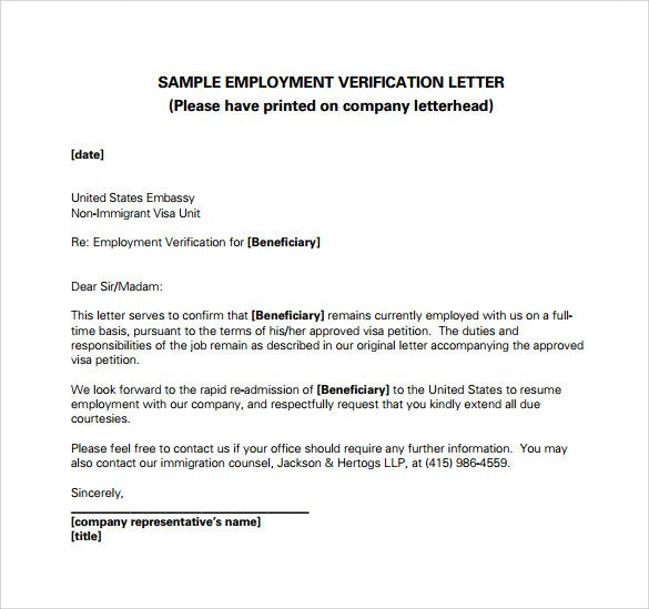 Employment Verification Letter Template Word Employment Verification Letter 14 Download Free