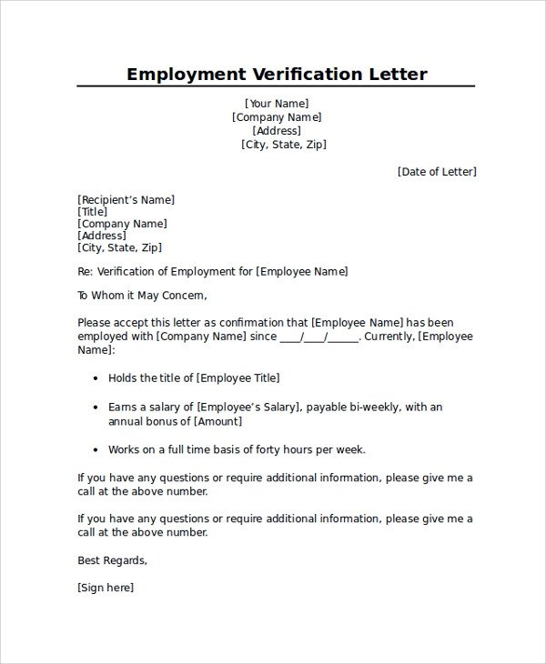 Employment Verification Letter Template Word Employment Verification Letter Templates 7 Documents In