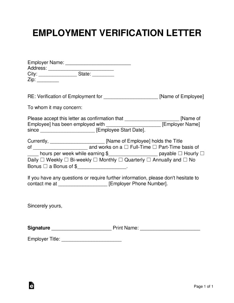 Free Employment In e Verification Letter PDF