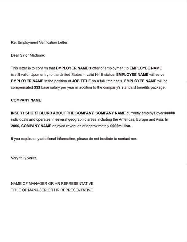 Employment Verification Letter Template Word Printable Sample Letter Employment Verification form